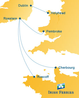 Irish Ferries Route Map