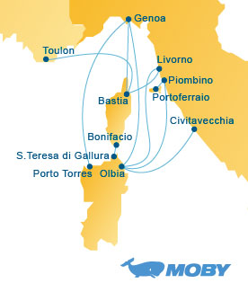 Moby Lines Route Map